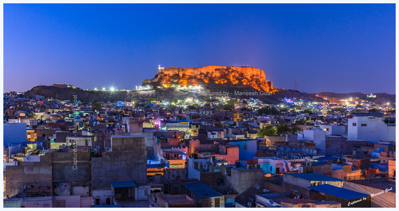Blue city during the blue-hour. Jodhpur. Mehrangarh Fort in the background.