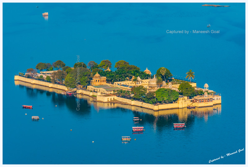 Jag Mandir Palace, located on an island in Lake Pichola, Udaipur, bathed in the golden morning light.