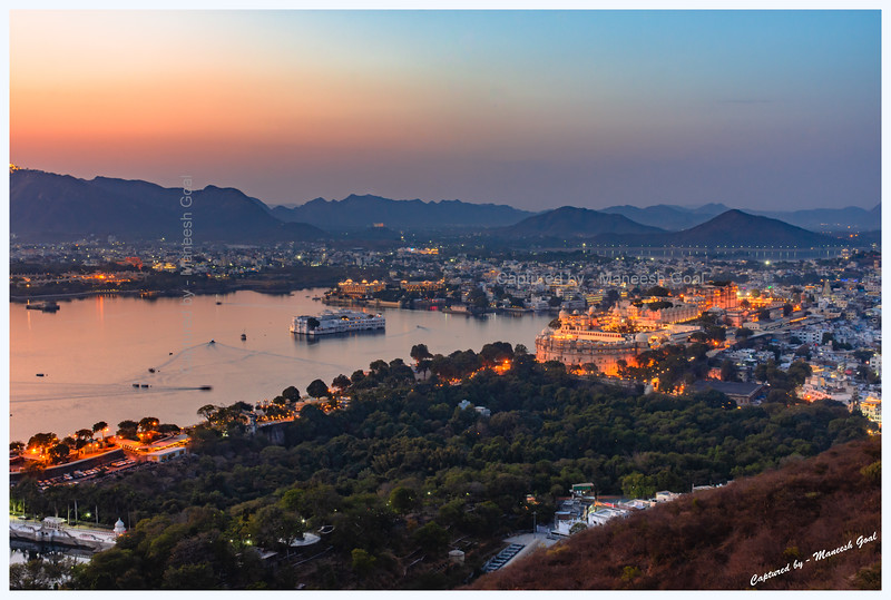 Udaipur city at dusk. Picture taken from Machla Magra hilltop near Dudh Talai.