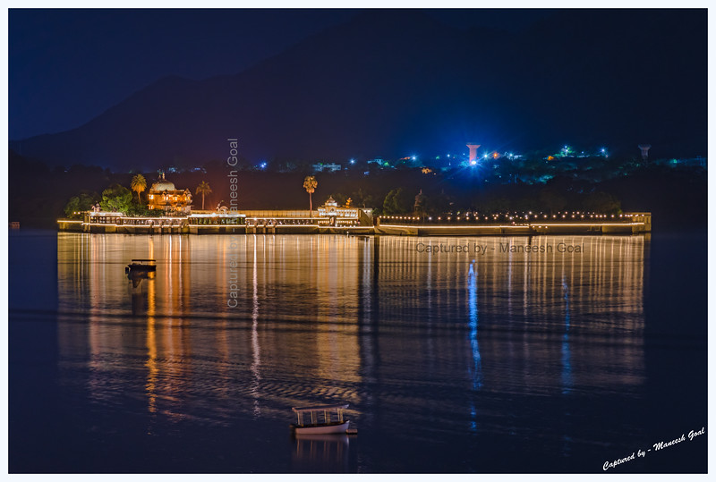 Jag Mandir Palace, located on an island in Lake Pichola, at night. Udaipur