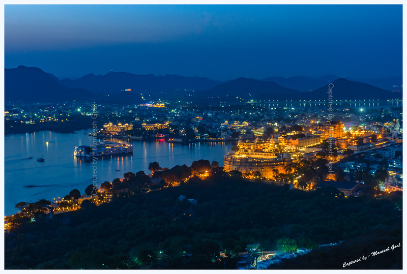Udaipur city during the blue-hour. Picture taken from Machla Magra hilltop near Dudh Talai.