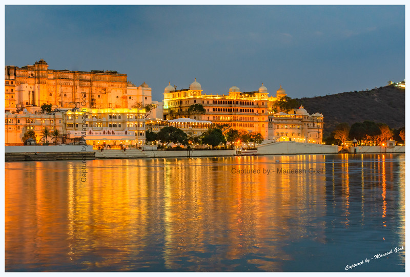 City Palace Complex, located on the banks of Lake Pichola, at dusk. Picture taken from Ambrai Ghat, Udaipur.