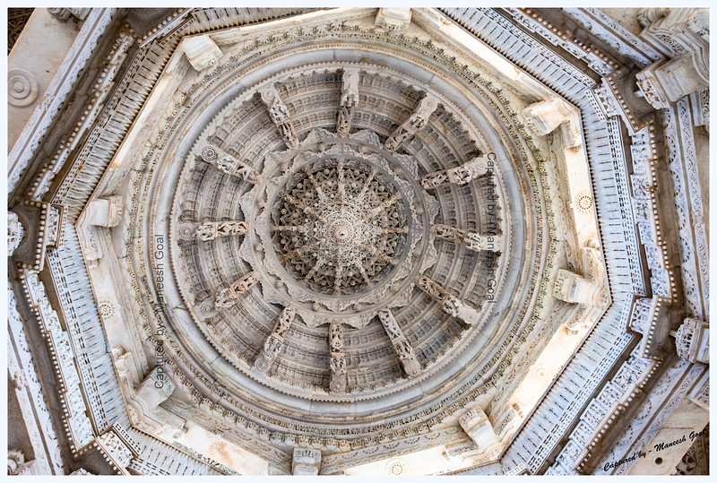 Intricate carvings in one of the domes of Ranakpur Jain Temple