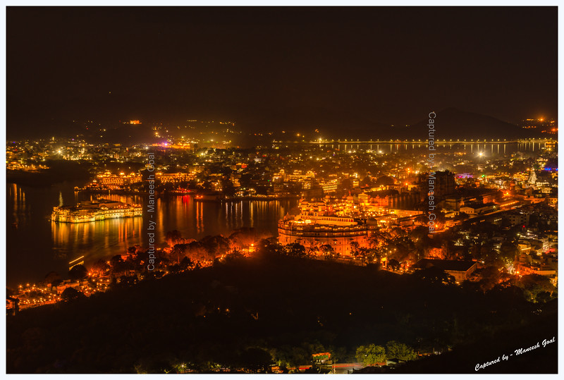 Udaipur city glittering at night. Picture taken from Machla Magra hilltop near Dudh Talai.