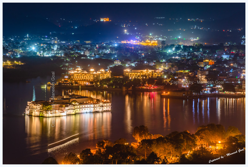 View of Lake Palace, Ambrai Ghat and Lake Pichola at night. Picture taken from Machla Magra hilltop near Dudh Talai.