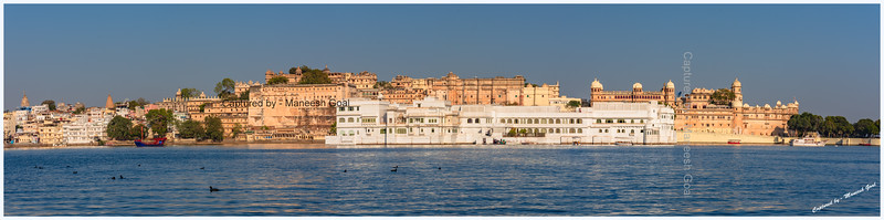 Panoramic view of City Palace, Lake Palace and Lake Pichola, Udaipur