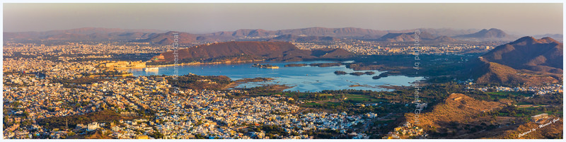 Panoramic view of Lake Pichola as seen from Sajjangarh Monsoon Palace, Udaipur