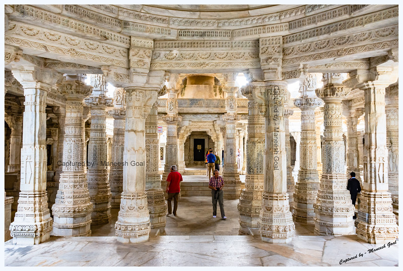 Ornately carved pillars inside the Ranakpur Jain Temple. No two, of the total 1444, marble pillars are alike!