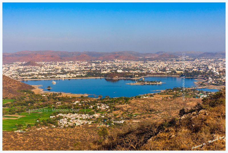 Panoramic view of Fateh Sagar Lake, Udaipur. As seen from Sajjangarh Monsoon Palace.