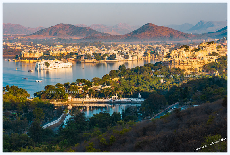 Udaipur city, bathed in the golden morning light.