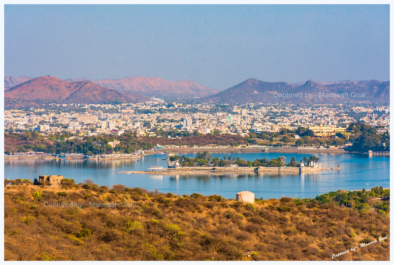 Nehru Park, built on an island in Fateh Sagar Lake, Udaipur. As seen from Sajjangarh Monsoon Palace.