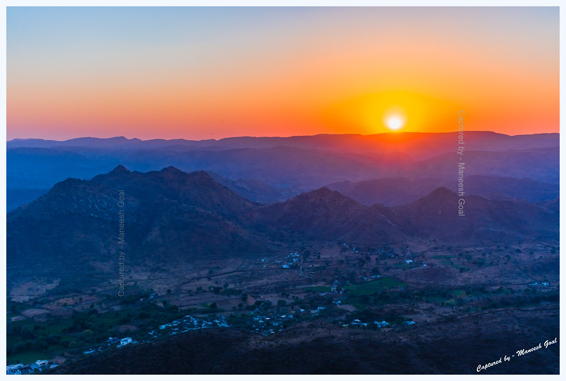 Sunset over Aravalli mountains. Viewed from Sajjangarh Monsoon Palace, Udaipur