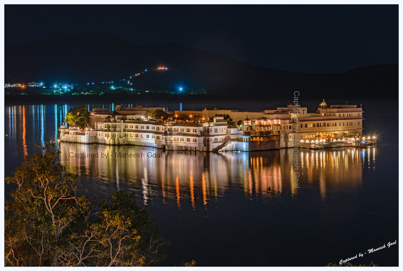 Lake Palace, located on an island in Lake Pichola, at night. Udaipur