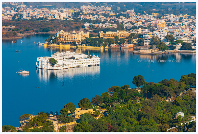 Lake Palace, located on an island in Lake Pichola, bathed in the golden morning light. Udaipur