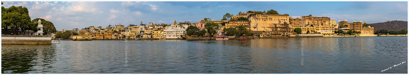 Panoramic view of City Palace and various ghats, located on the banks of Lake Pichola. Picture taken from Ambrai Ghat, Udaipur.
