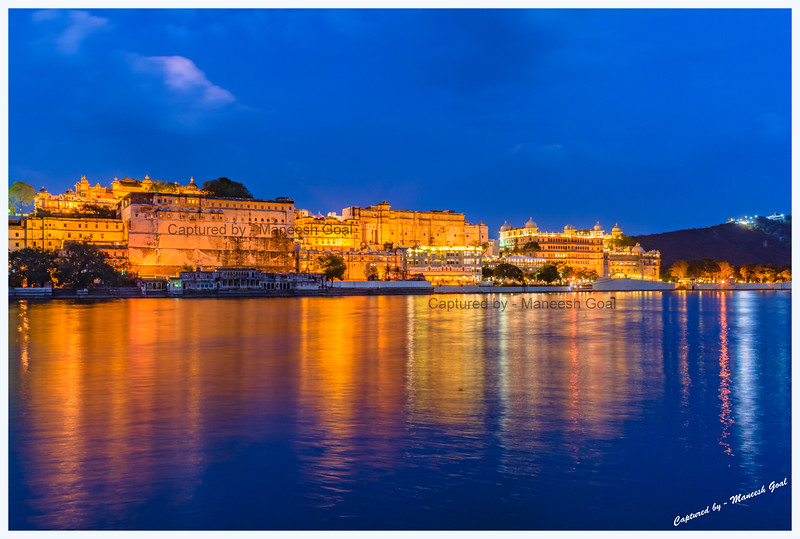 City Palace Complex, located on the banks of Lake Pichola, during the blue-hour. Picture taken from Ambrai Ghat, Udaipur.
