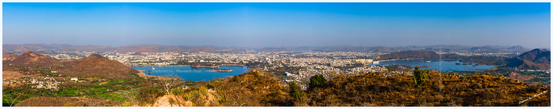 Panoramic view of Udaipur from Sajjangarh Monsoon Palace - Fateh Sagar Lake on the left and Lake Pichola on the right.