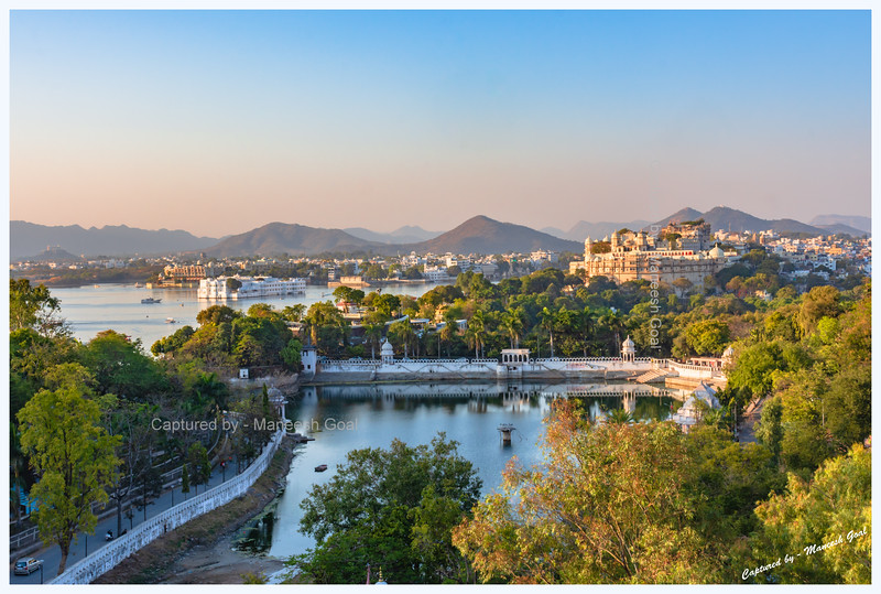 Udaipur City in the golden light of evening. Picture taken during a cable-car ride to Karni Mata Temple, which is located on the Machla Magra hilltop near Dudh Talai