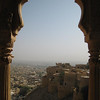 A view from inside the fort's palace looking out over the town of Jaisalmer.