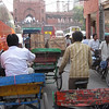 Street traffic in Delhi near the Jama mosque.  There are still many rikshaws used in parts of the city.