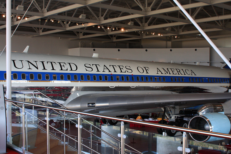 Visitors enter the front door and travel the length of the plane.  It's pretty tight in there.  No photography permitted.  The last president to fly on the plane was George W. Bush during his first year in office.  Reagan was the most traveled on this aircraft.