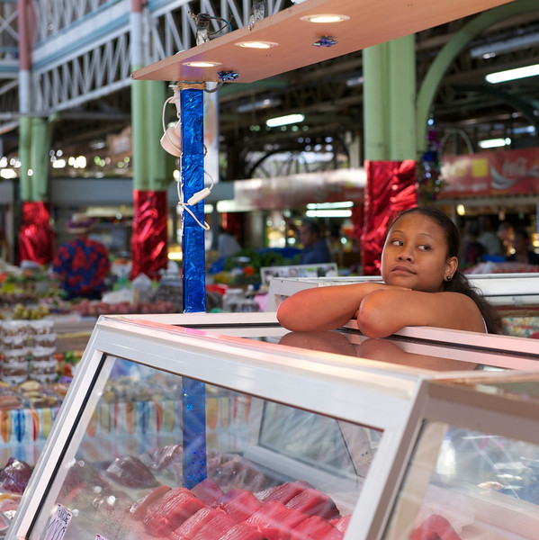 Papeete market fish vendor