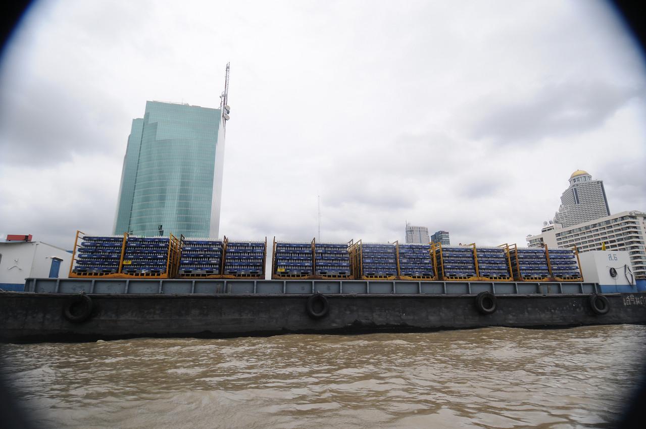 A barge full of empty Pepsi bottles!