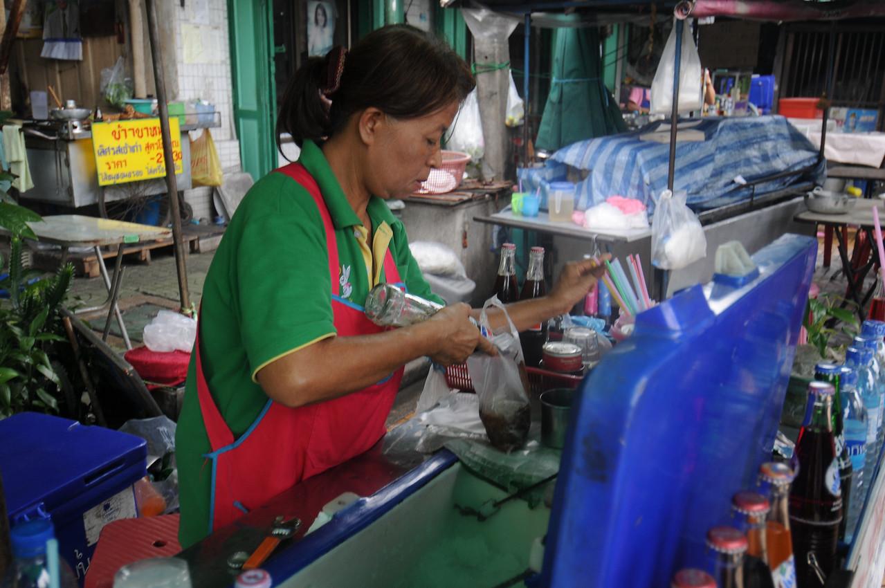 The super elaborate preparation of Pepsi in a Bag underway