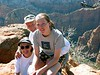 The second trip to Zion's:   Chris, Annie & I at the top of  Cable Mountain.