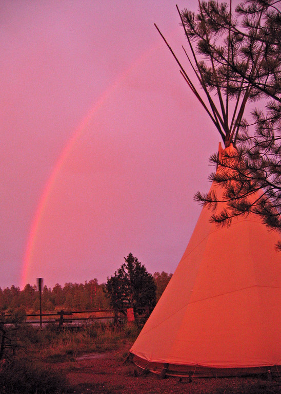 The teepee for a night and a rainbow, now come on!