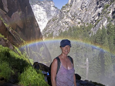 Sarah and mist rainbow, Yosemite