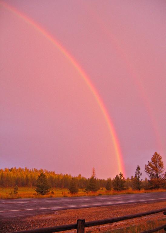 Rain is always better with a sunset rainbow, Bryce UT