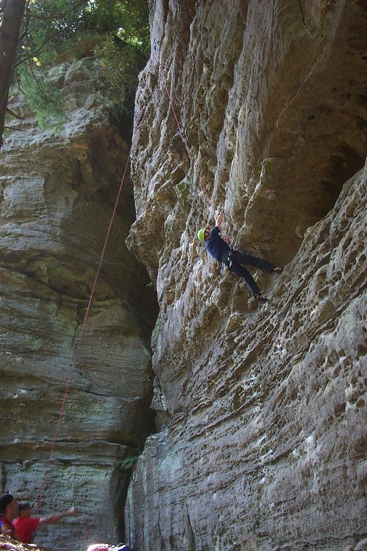 Mark climbing a sttep route at Torrent Falls