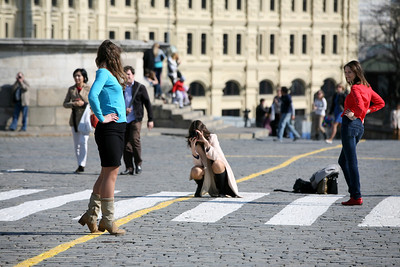 Two Girls are Posing for Photos, Red Square, Moscow