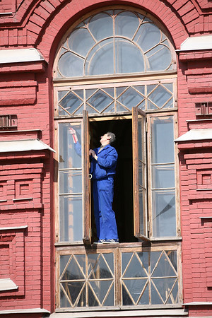 Window Cleaning at The State History Museum, Red Square, Moscow