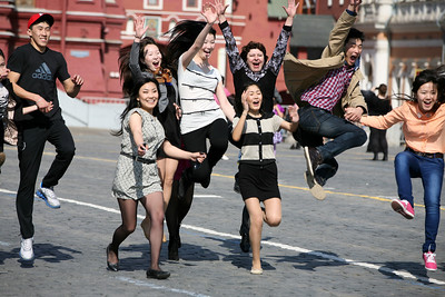 A Group of Excited Youth, Red Square, Moscow