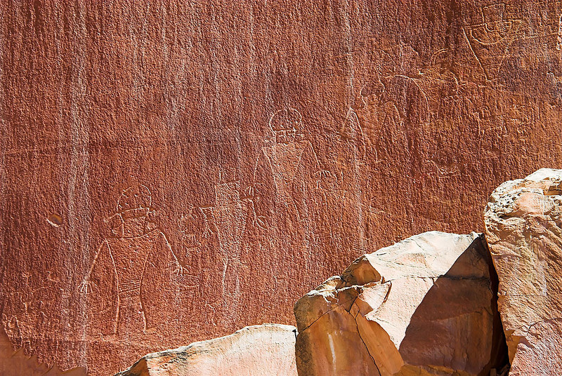 Petroglyphs (rock carvings) made by the Fremont People between A.D. 700 and A.D. 1300.