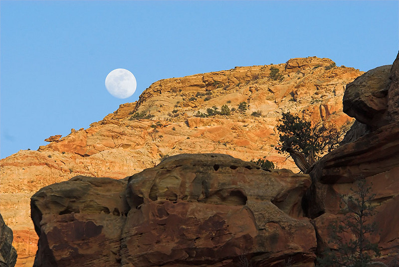 Moonrise after hiking out of Grand Wash