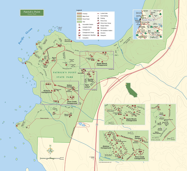 "Patrick's Point State Park map. Left click on map then select ""Sizes -> Original"" in bottom right corner of screen to view full size."