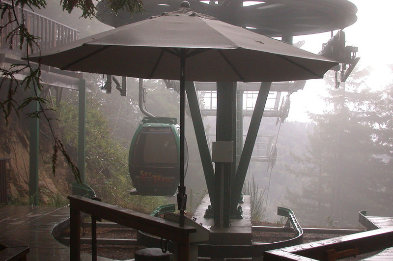 The top of the gondola ride was in fog.,