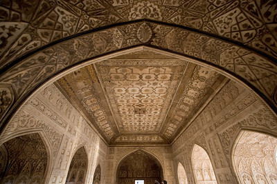 Amazing period details grace the ceilings, walls, and archways of the Red Fort of Agra.