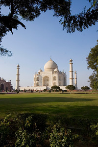 The Taj as admired from the adjacent gardens and green terraces.  - Agra, India