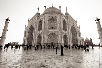 This is the back and side of the Taj as seen from standing at one of the four corners.  The sun backlit the scene for a dramatic brightening effect.