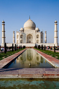 The Taj as seen from head-on, looking down a reflecting pool.  - Agra, India