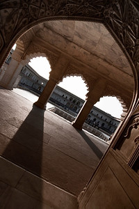 Long shadows caught my eye within the Red Fort of Agra.