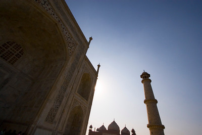The back side of the Taj is silhouetted against late afternoon sun.  - Agra, India