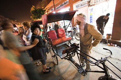 In the Pink City of Jaipur, we claim a rickshaw late at night to head back to the hotel.