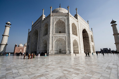This is the back and side of the Taj, as seen from standing at the base of one of the four corner towers.  - Agra, India