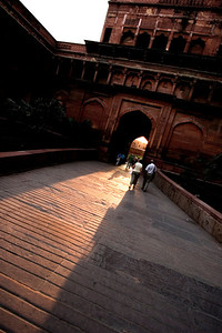 Sun shines through the front door of the Red Fort of Agra.