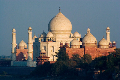 The Taj as seen from Emporer Shah Jahan's prison cell within the Red Fort of Agra, just up the river.